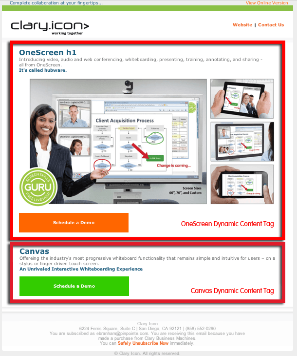 ClaryIcon Email sample-dynamic-content-pinpointe