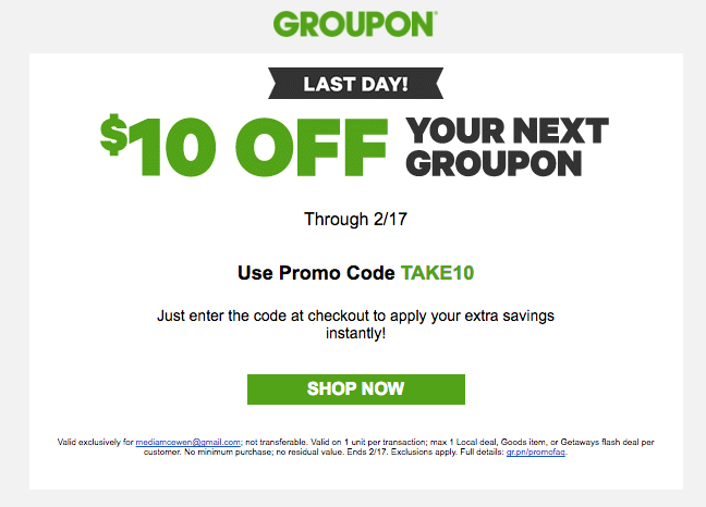 Coupon - email tips