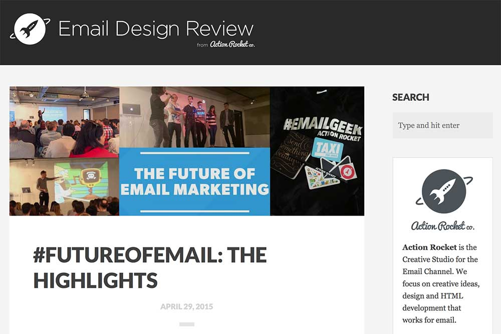 Action Rockets email design blog includes lots of email design resources