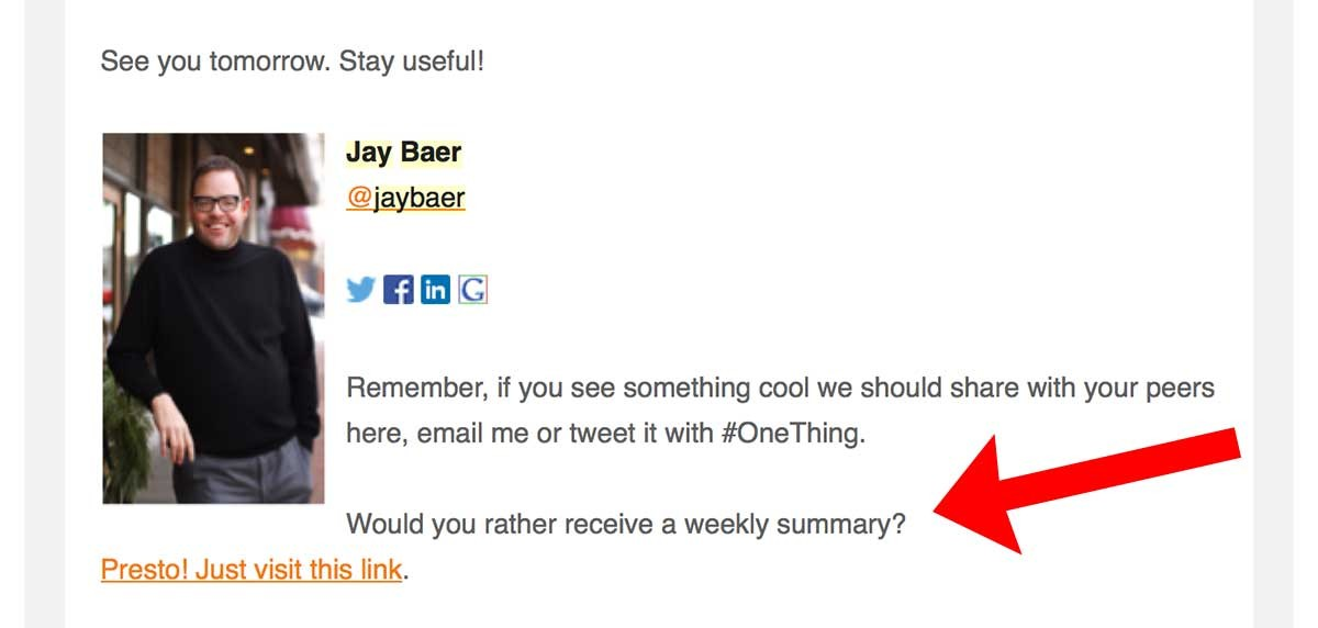 email marketing tricks An example of getting people to opt-down rather than opt-out