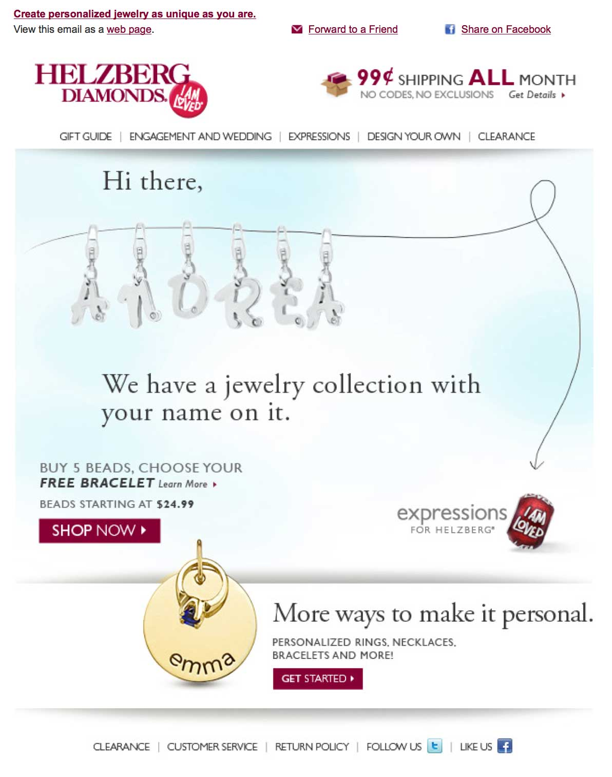 A screenshot of Helzberg diamonds animated gif email that got a 288 percent lift over the static version
