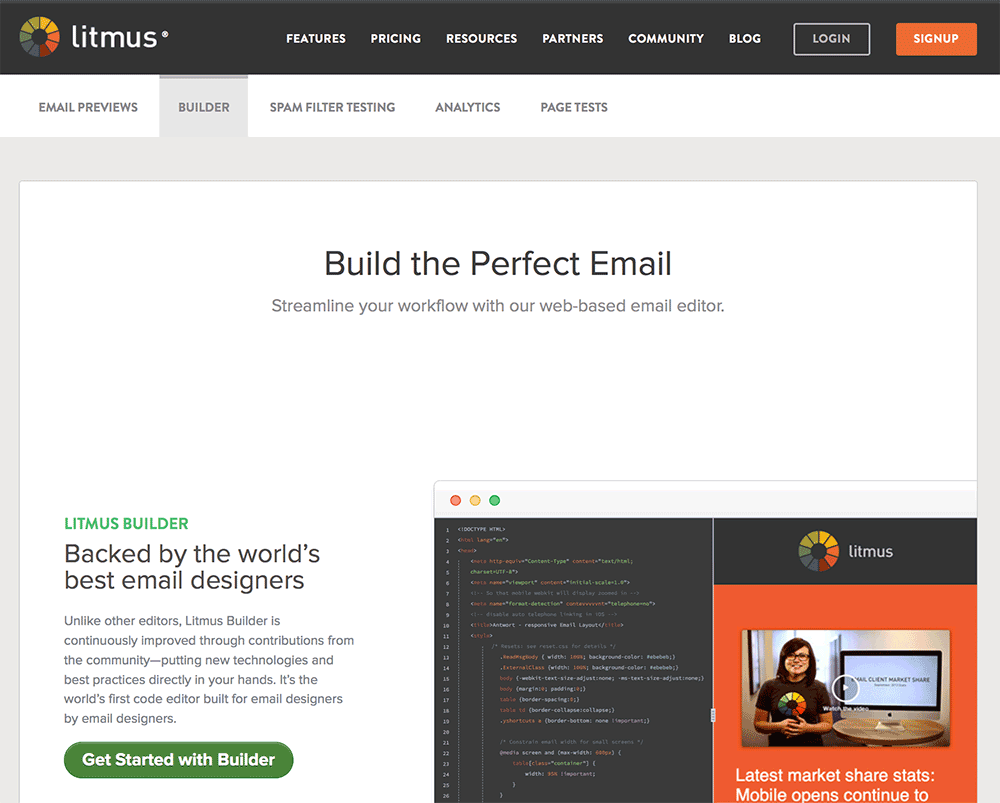 The Litmus Email Builder for designers who code