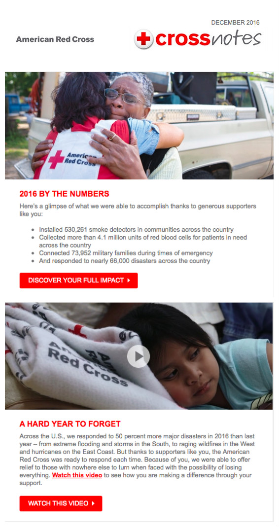 redcross - how images impact email campaigns