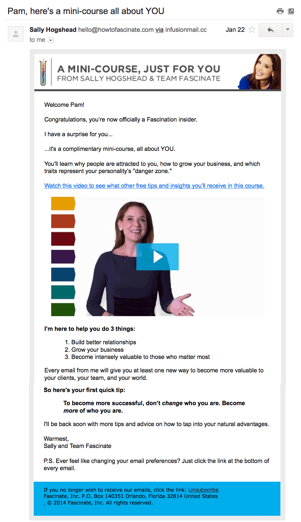 another example of what looks like a video in an email, but is actually an image