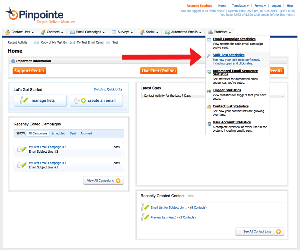 how to find the results of your ab split testing in your pinpoint account, step 1