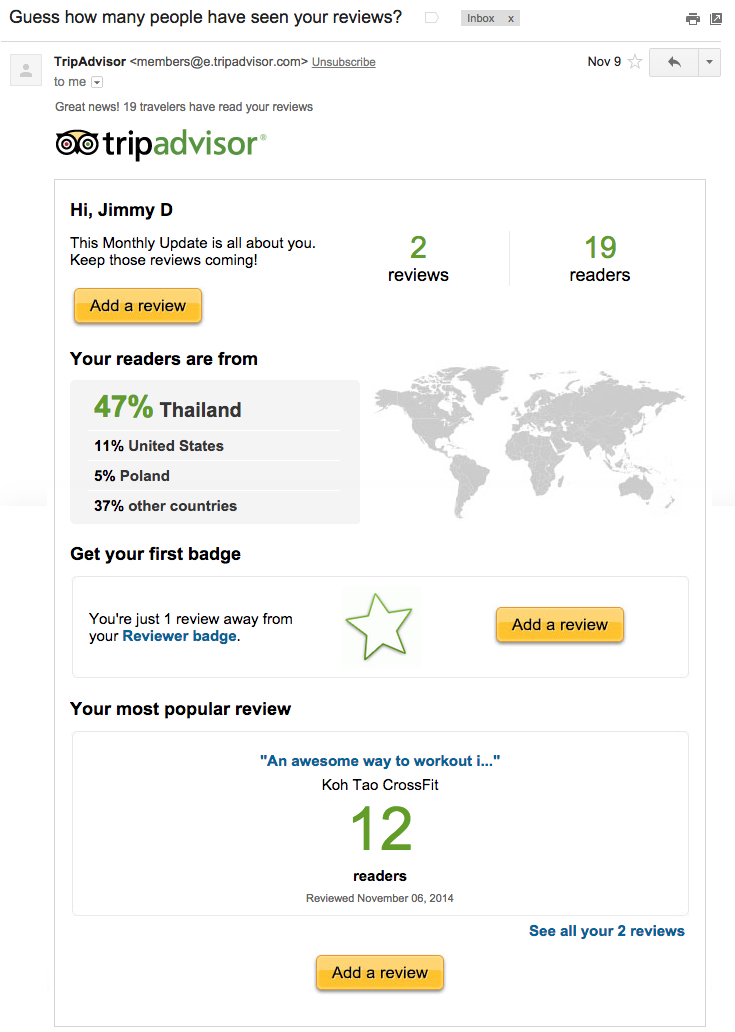 How TripAdvisor uses dynamic content in some of its triggered emails
