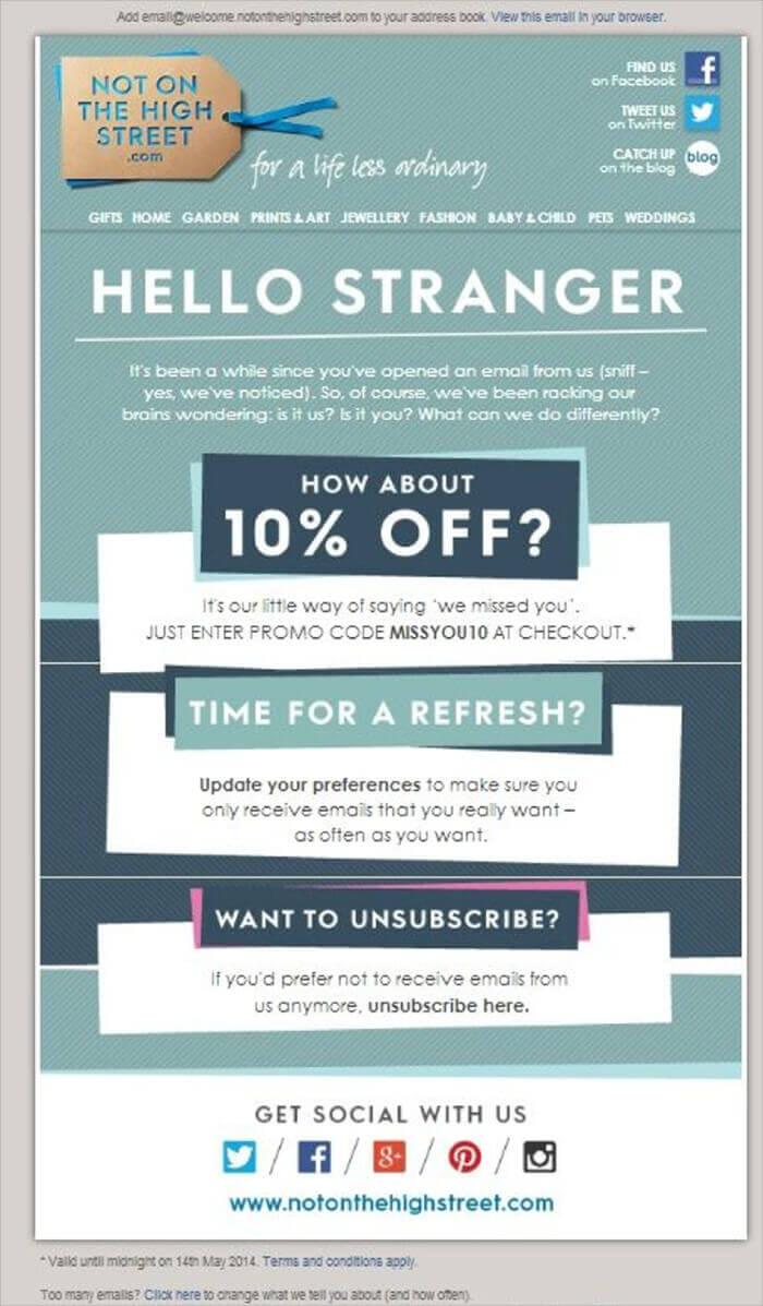 Behavioral Email Marketing - retention email