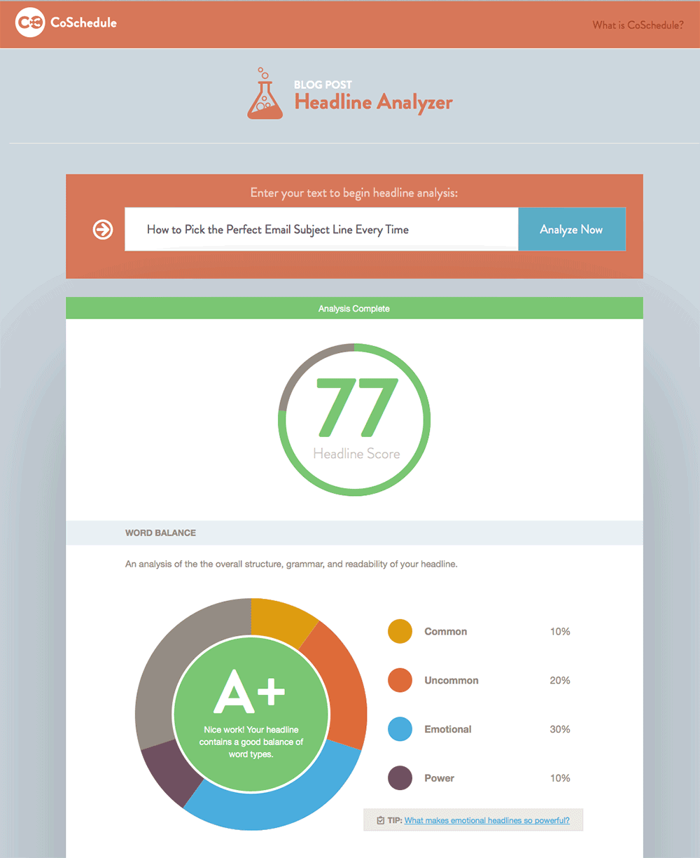 coschedule's headline analyzer could also do a great job with email subject lines