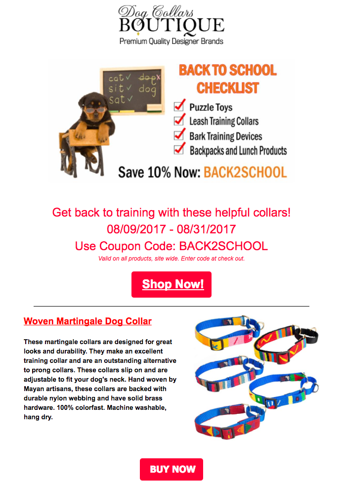 back to school emails - sale 2