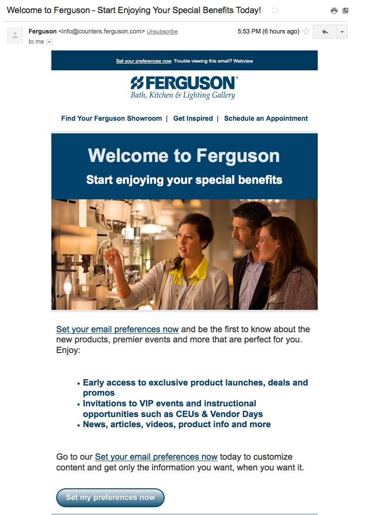 FergusonSetPreferencesWelcomeEmail-b2b welcome emails