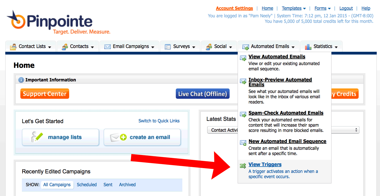 how to set up an email trigger in pinpointe
