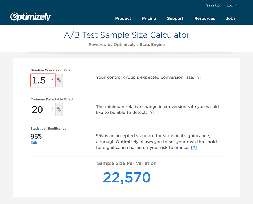 Optimizely sample size calculator is a life-saver