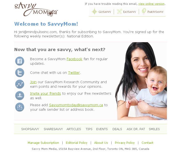 SavvyMomWelcomeEmail-b2b welcome emails