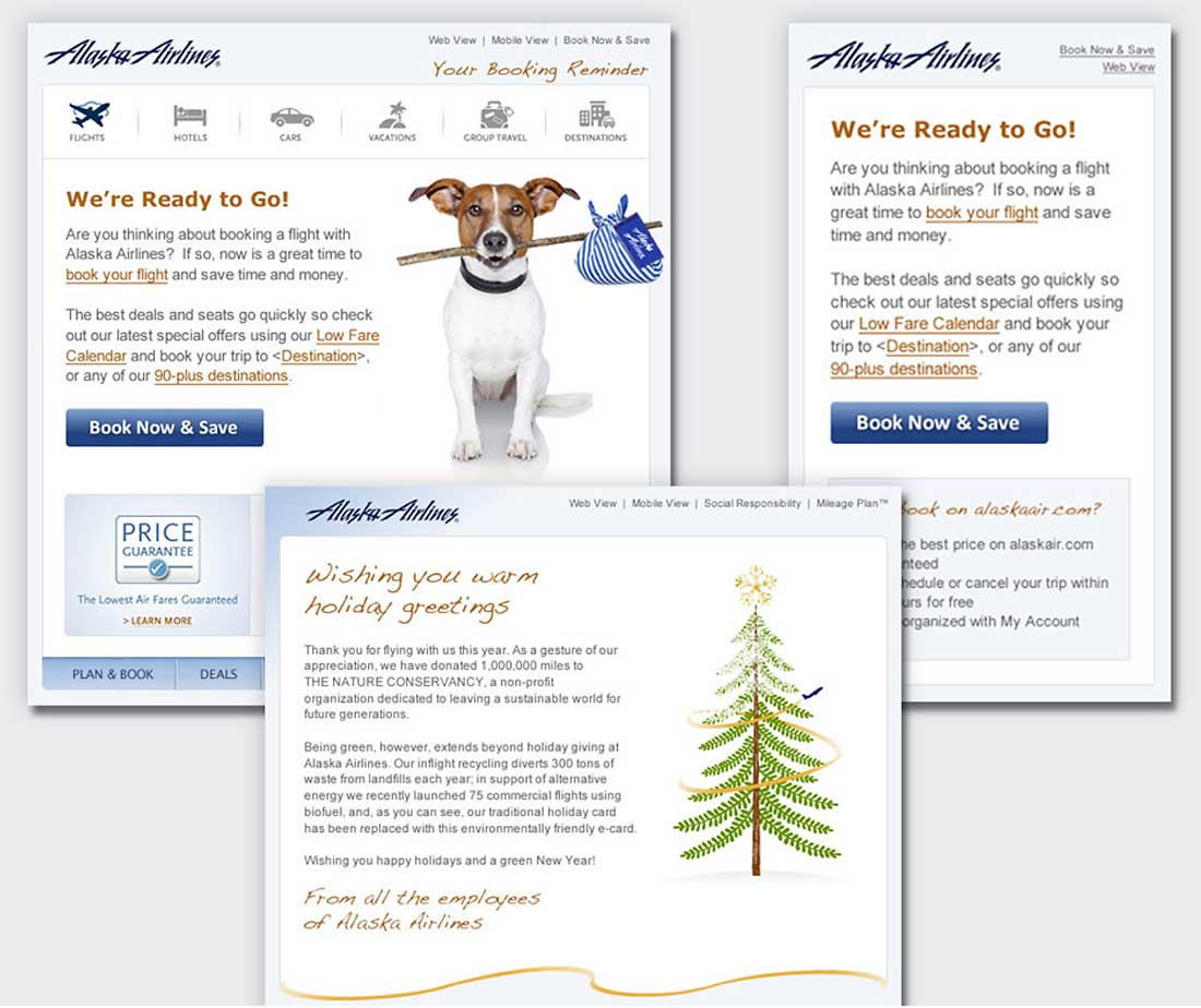An example of Shaw Scotts emails for Alaska Airlines email designers