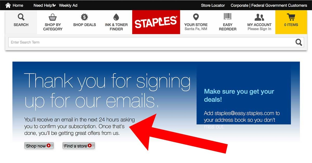 Staples-24hourWelcome-b2b welcome emails