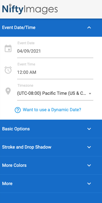 Set event date and time.