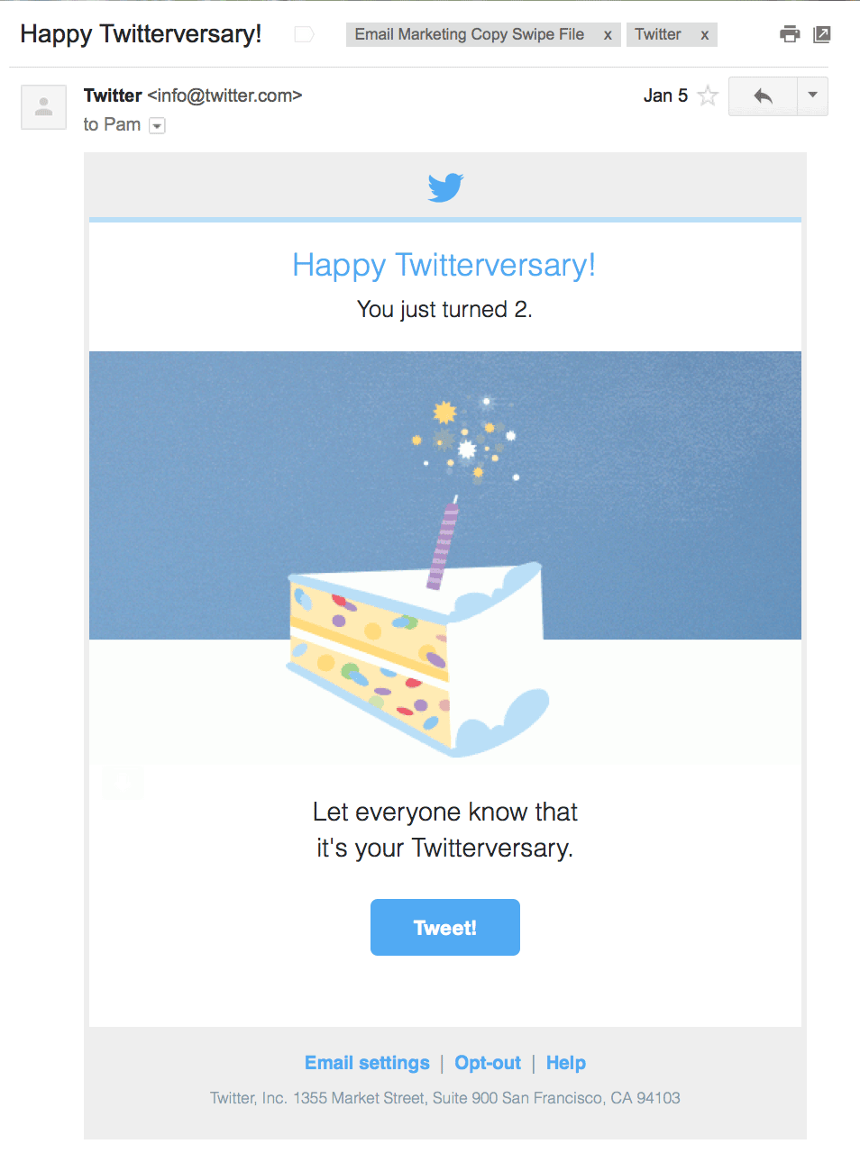 In email, the sparkles on the candle in this email twinkle