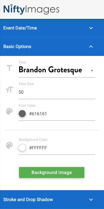 Toolbar options.