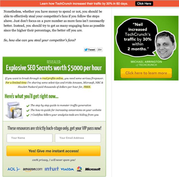 CTA - optimizing website content