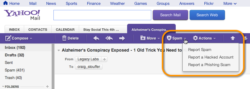 The spam complaint button in yahoo mail.