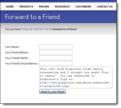 Email Marketing - Forward-to-a-friend form